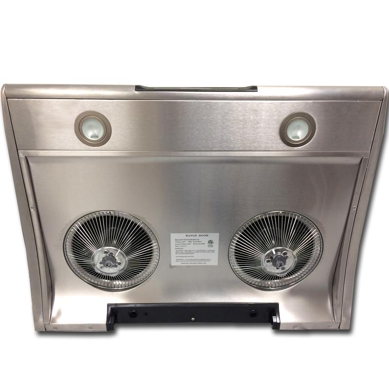 - 超强吸力,最高档达到850CFM ,迅速抽走油烟和气味 - 双马达超静电机设计: 采用特殊设计的超静专用电机, 左右电机反向旋转, 风道顺畅, 阻力小, 噪音低, 排气能力强. - 三档变速数字触摸控制: 配合各种烹调,提供3种档速抽力选择.即可保证室内空气洁净, 又节省能源, 更使噪音降到最低: - 各种烹调, 档速选择参考: 1档; 蒸, 炖, 炆, 煲,煮等; 2档; 中火煎, 炸等; 3档; 猛火煎, 炸,炒等; - 全自动清洗功能,省钱省力: 在抽油烟机左上方有一注水孔,可注入洗涤剂.
